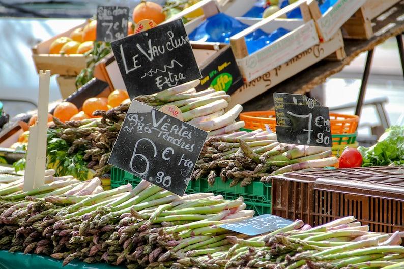 Green asparagus at Paris market fine art food photography image 0