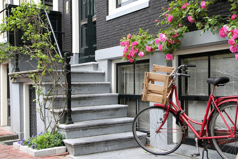 Amsterdam bike photo bike parking summer bicycle photo fine image 0