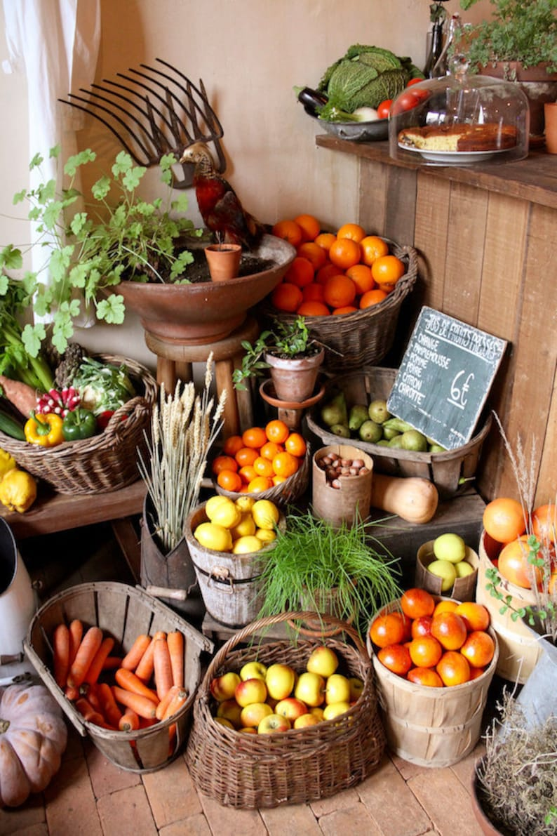 Piles of fruit and vegetables in Paris kitchen photography image 0