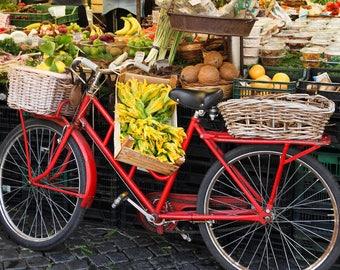 Rome, Italy bicycle, Rome market, red bike, fine art travel photography, travel photo by Falling Off Bicycles