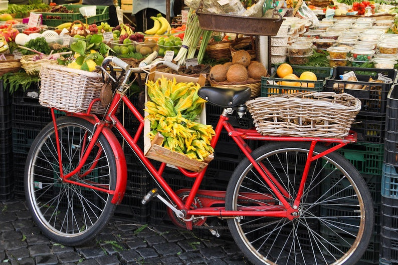 Rome Italy bicycle Rome market red bike fine art travel image 0