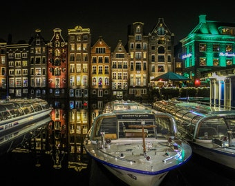 Amsterdam night reflection photo, fine art Netherlands photography, Falling Off Bicycles travel photo, Netherlands wall decor