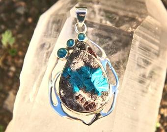 Cavansite with Blue Apatite Sterling Silver handmade pendant