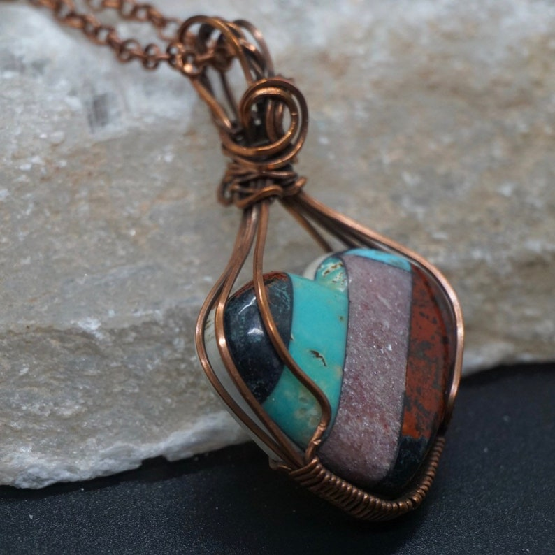 Turquoise heart pendant Crystal Jewelry lepidolite Sanora sunrise copper wire wrapped Mosaic heart pendant necklace Gift