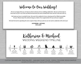 wedding welcome letter and itinerary cards wedding timeline wedding things to do welcome bag gable box
