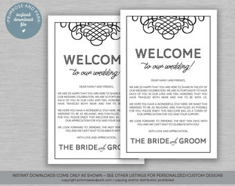 wedding welcome letter in navy blue instant download welcome note hotel welcome bag digital download