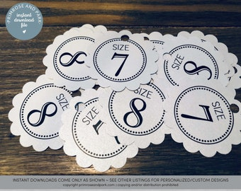 eddfe3c8094e Flip Flop Size Tags • Wedding Flip Flop Tags • Printable Flip Flop Tags •  Instant Download