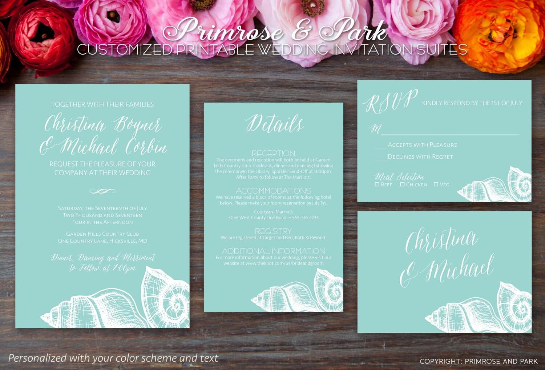 Beach Themed Wedding Invitations Uk: Beach Theme Wedding Invitation Suite // Shells Wedding