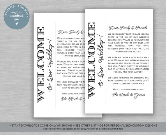 Wedding Welcome Letter for Hotel Welcome Bags • Welcome Notes • Instant  Download