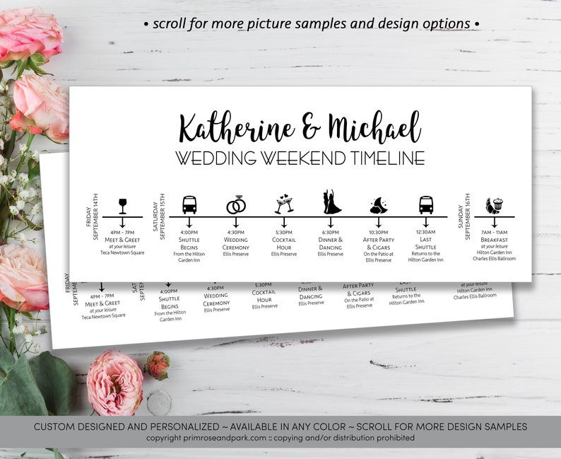 Modern Wedding Timeline Card • Wedding Itinerary • Wedding Weekend Timeline  • Printable Wedding Timeline • Welcome Bag • Timeline Template