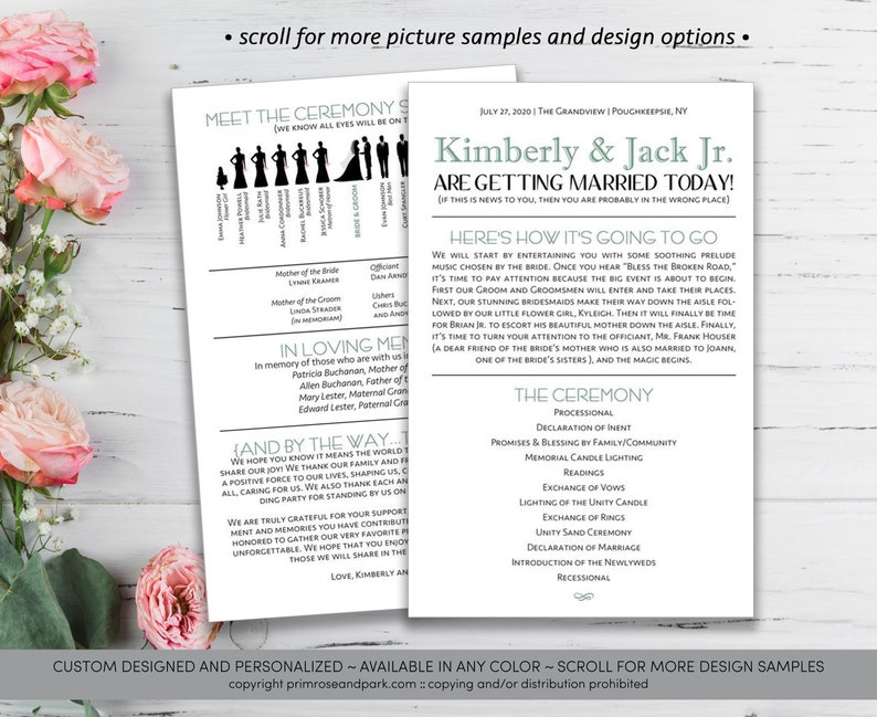 c0d01addd3ddbb Funny Wedding Program Silhouette Wedding Program Wedding