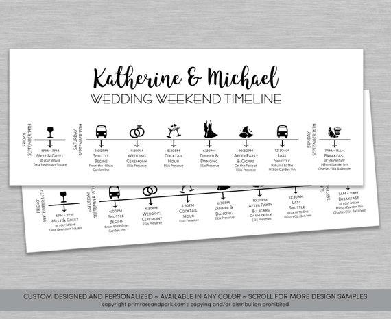 Wedding Timeline Cards Wedding Day Itinerary Wedding Etsy