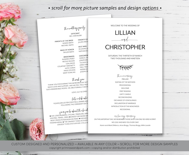 63f69ea3f79d31 Modern Wedding Program Rustic Wedding Program Ceremony
