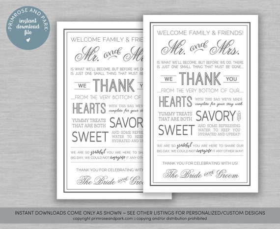 Wedding Welcome Letter in Gray • Instant Download • Welcome Note • Hotel  Welcome Bag • Digital Download