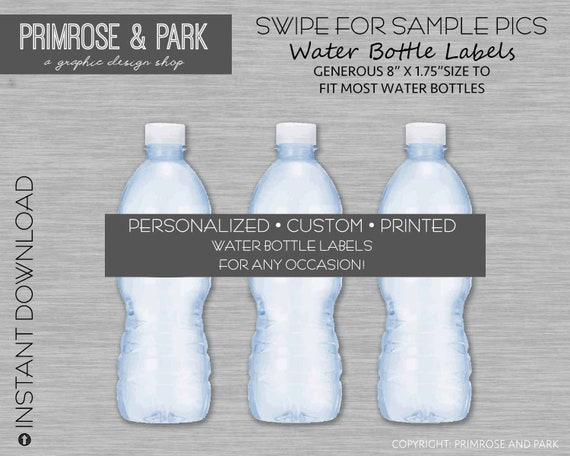 Personalized Water Bottle Labels Printed Baby Shower Etsy