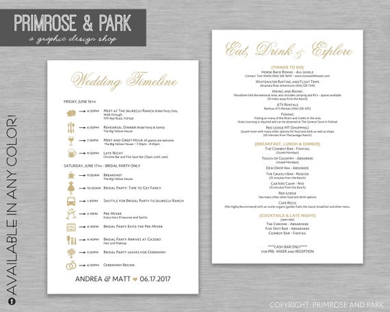 wedding itinerary and things to do cards wedding timelines etsy