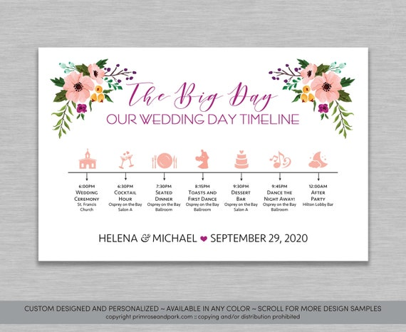 Floral Wedding Timeline Boho Wedding Weekend Timeline Etsy