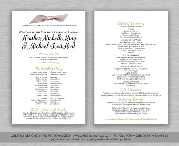 Modern Wedding Program Ceremony Program Simple Wedding Program Wedding Program Download Printed Wedding Programs