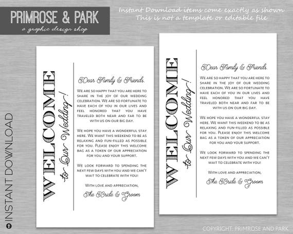 wedding welcome letter for hotel welcome bags welcome notes instant download
