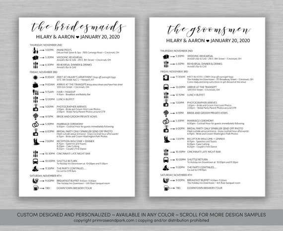 bridal party timelines wedding party timelines wedding etsy