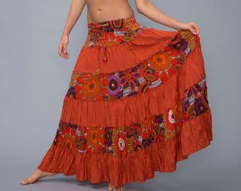 Gypsy skirt - bohemian - boho - Orange maxi skirt - long skirt - tribal skirt