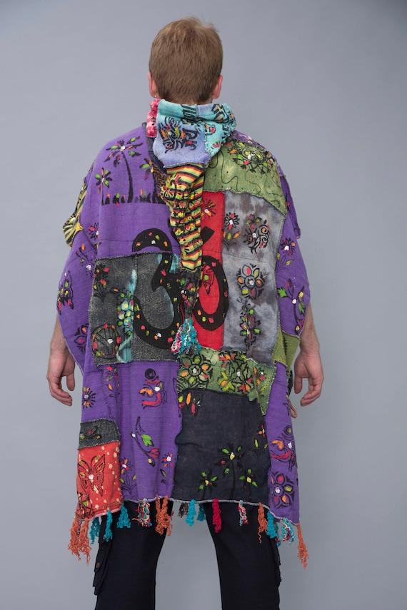 Elf lining poncho Cozy Pixie warm patchwork with cotton Hippie Shawl Hood Poncho very Tq48wB