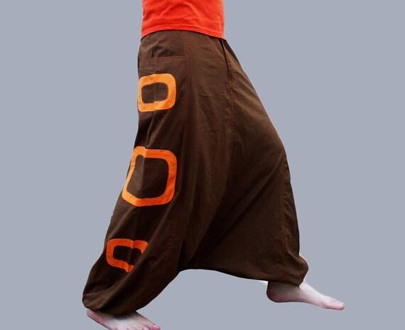 Harem broek met zakken, (laatste paar M grootte) Aladdin broeken Afghani broek Alibaba broek Rave Psy mannen vrouwen katoen