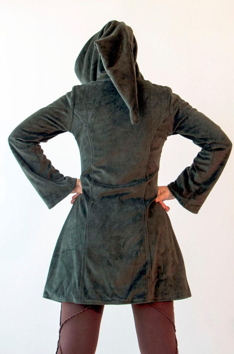 Unisex hippie coat Burgundy Pixie Jacket  Fleece Hippie Elf Hoodie Unisex