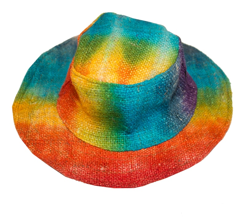 Hippie Hats,  70s Hats Rainbow Hemp Hat Hippie Sun hat - Festival Hat - men  women $20.00 AT vintagedancer.com