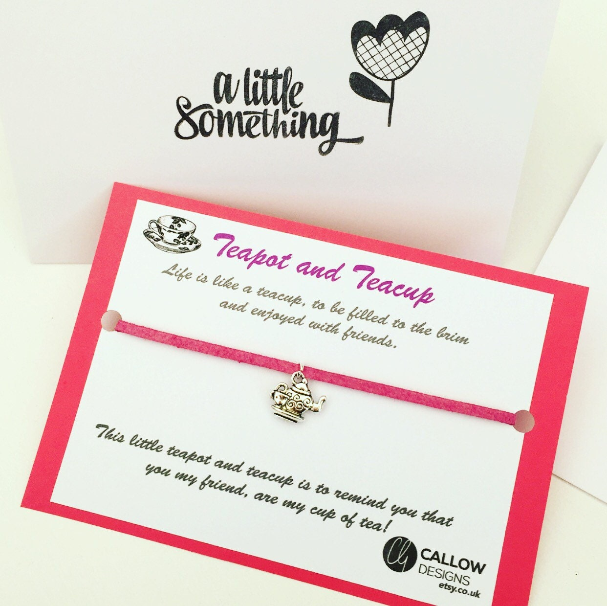 Teapot And Teacup Greetings Card And Charm Bracelet Meaning Quote