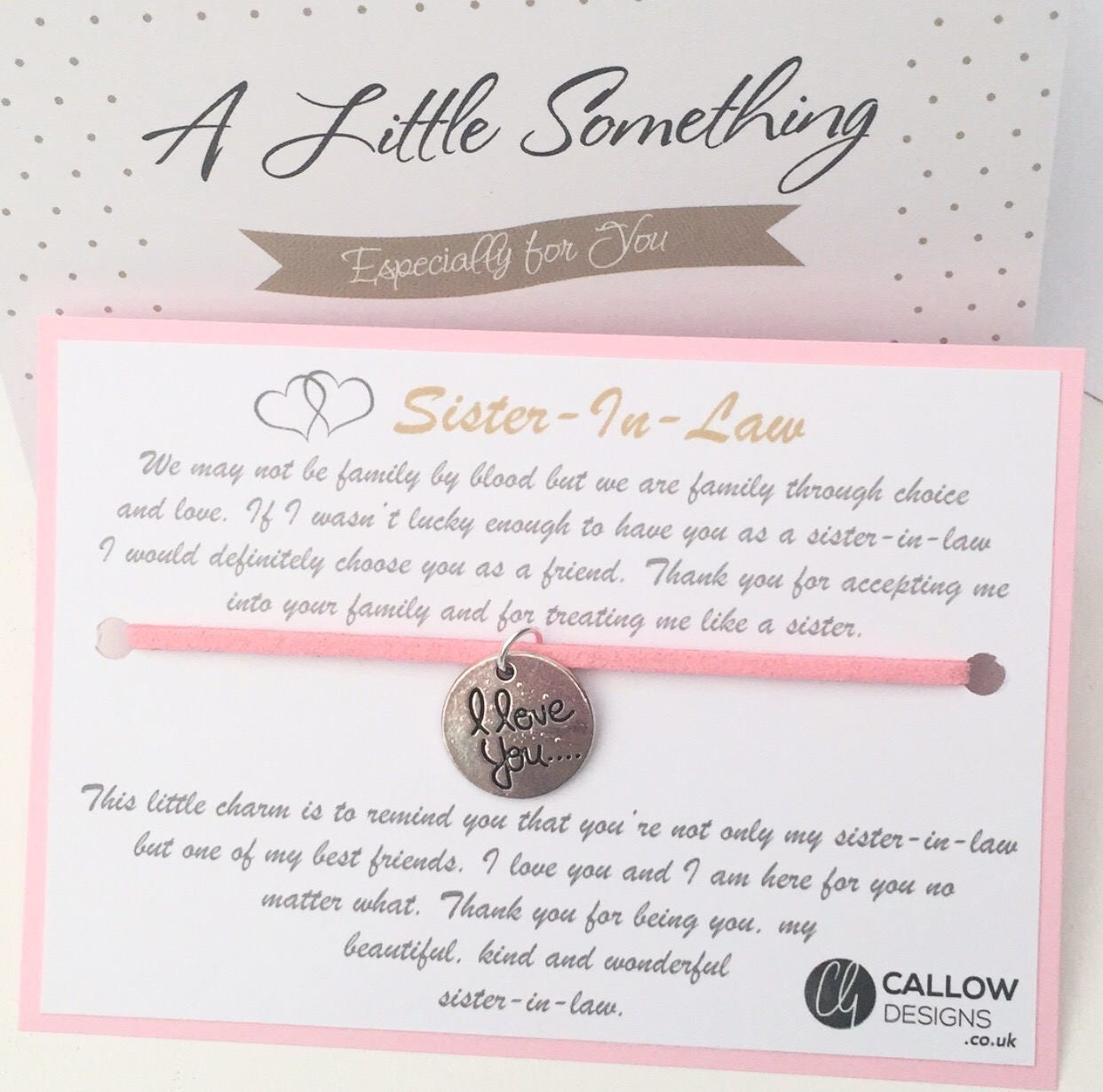 Sister In Law I Love You Greetings Card Charm Bracelet Meaning Quote
