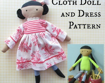 Girl Cloth Doll Sewing Pattern PDF with Dress