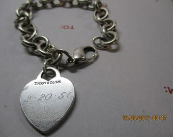 vintage 1950's Tiffany& Co. heart charm silver chain  charm bracelet .925 sterling silver