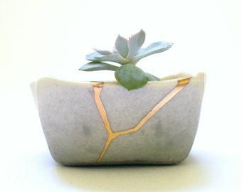 Kintsugi Inspired Mini Square Succulent Planter in Gray Ombre, ceramic pottery, cactus flower pot, succulents, porcelain, wabi sabi