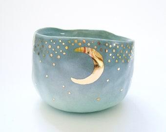d009fbb669 Yunomi étoilé de Moon Gold Cup en dégradé bleu Turquoise - en céramique,  poterie, tasse de thé, matcha tasse, tasse lune et étoiles, Kira appeler  céramique