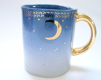 Slab Built Starry Gold Moon Coffee Mug in Twilight Blue Ombre