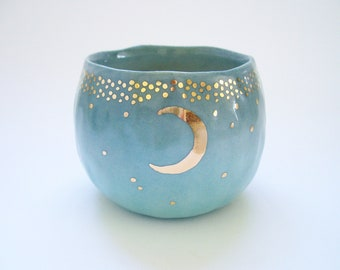 Starry Gold Moon Yunomi Tea Cup in Turquoise Blue Ombre