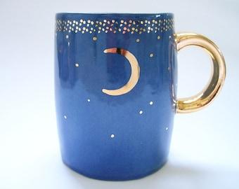 Slab Built Starry Gold Moon Coffee Mug in Dark Blue
