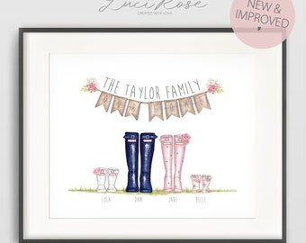 Family Wellington Boot Personalised Print Family Gift Welly Family Art