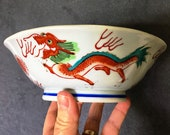 Vintage Red Dragon Bowl - hand painted porcelain - Chinese Rice or Soup Bowl - Asian Decor