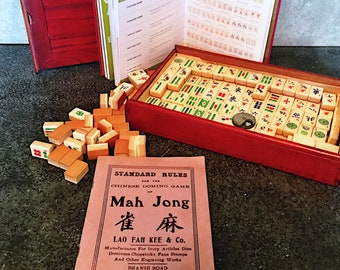 Vintage MahJong Game - Mid century Shaghai China - Mahjong game - 1940's Chinese Dice Game - Rosewood box - Mid Century pastime