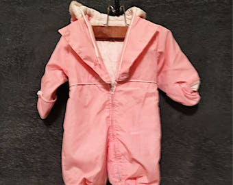 122894fce Vintage Baby Snowsuit - 1950's Weather Winky Quilted snowsuit - Pink Baby  Bunting - Baby Pictures