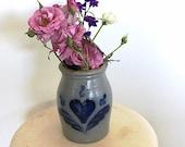 Vintage Stoneware Crock, Cobalt Blue Heart Design, made in Cambridge, Wisconsin USA, Farmhouse Kitchen