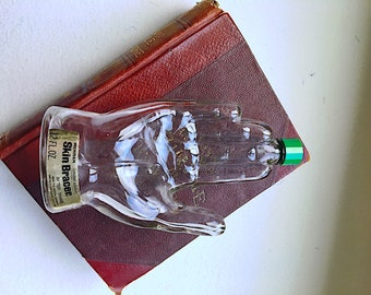 Vintage 1960's Glass Hand, Mennen Aftershave Bottle, Collect Prop or display