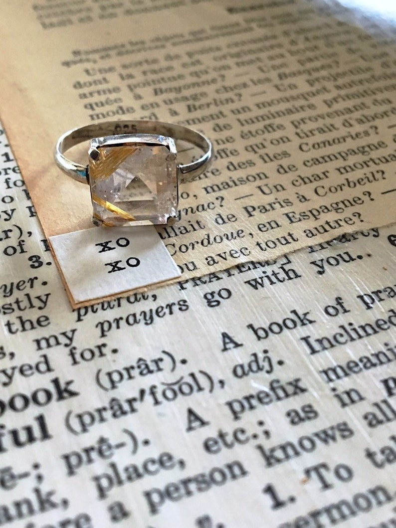 Sterling Silver setting Vintage Golden Rutilated Quartz Ring