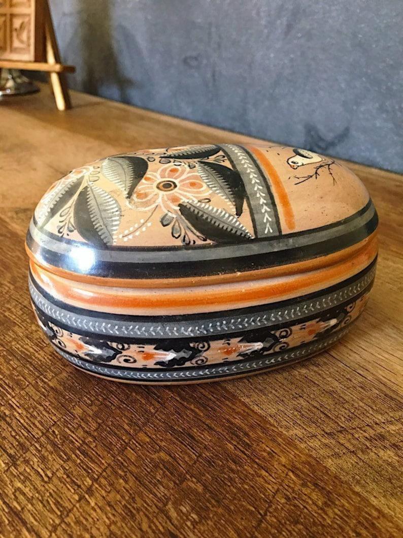 Vintage Tonala Pottery by Florentino Jimon, Mexican Folk Art Jewelry box,  hand painted Clay
