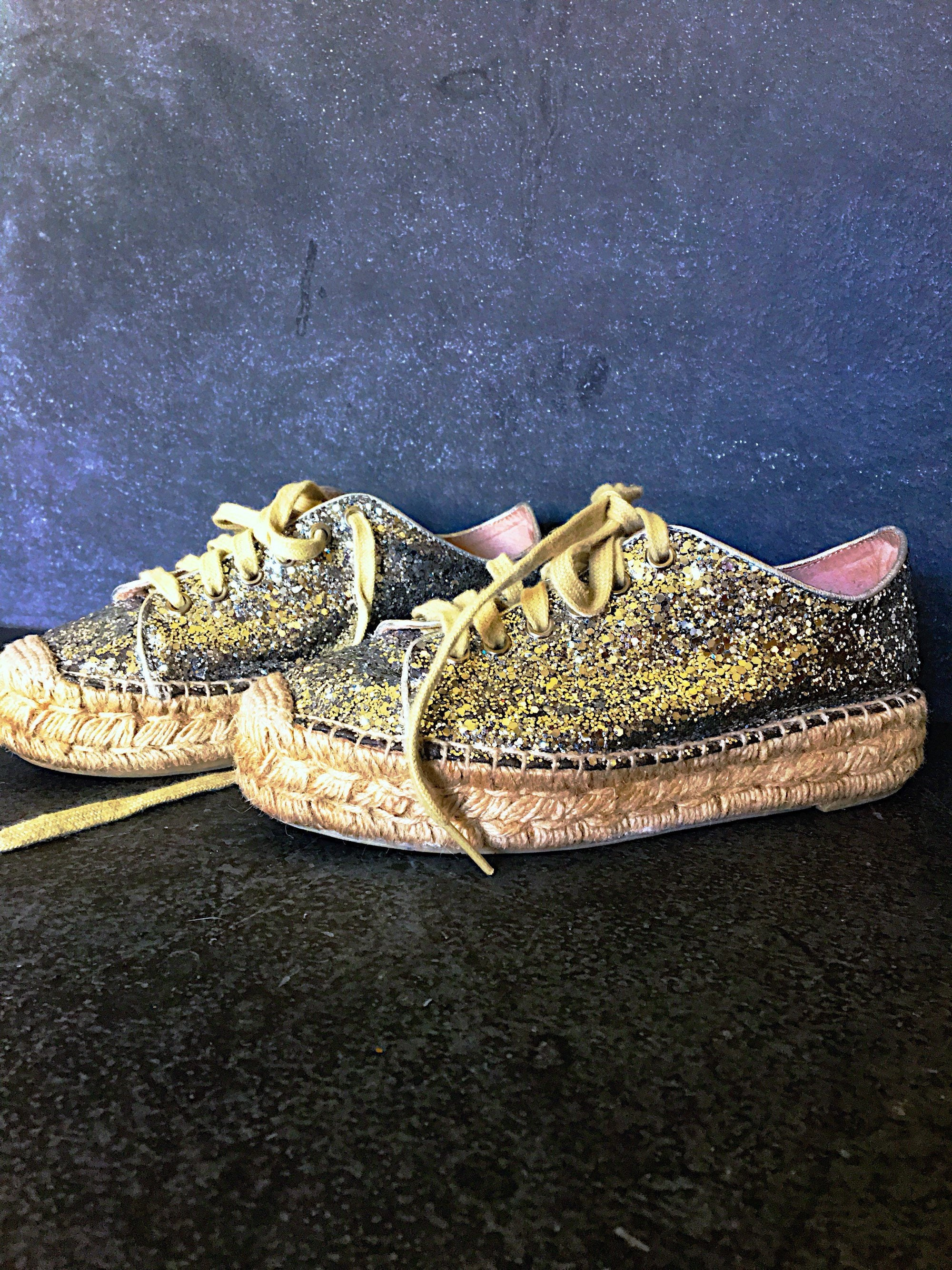 80s Dresses | Casual to Party Dresses Vintage Espadrille Sneakers, 1980s Club Shoes, Silver Sequin Designer Paloma Barcelo, Made in Spain $0.00 AT vintagedancer.com