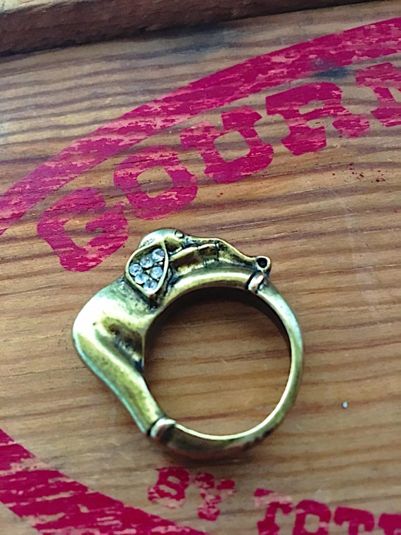 Vintage Brass Elephant Ring, 1960's Rhinestone St… - image 2