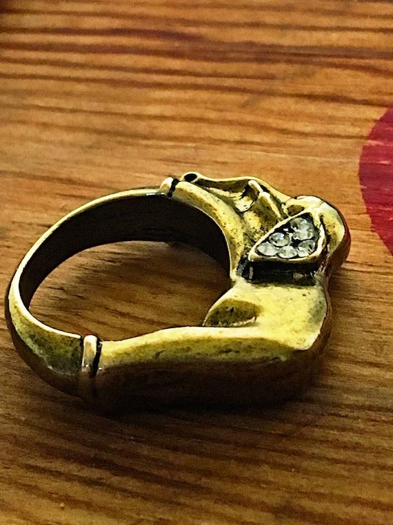 Vintage Brass Elephant Ring, 1960's Rhinestone St… - image 8