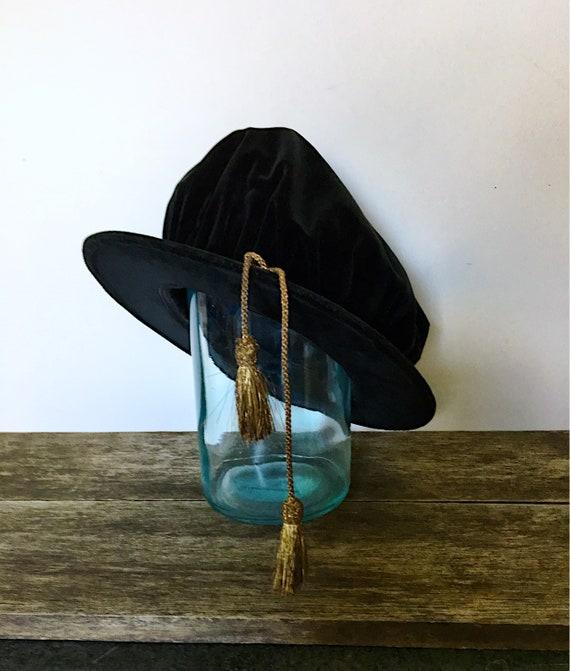 Vintage Black Velvet Poets Beret, London Haberdas… - image 2